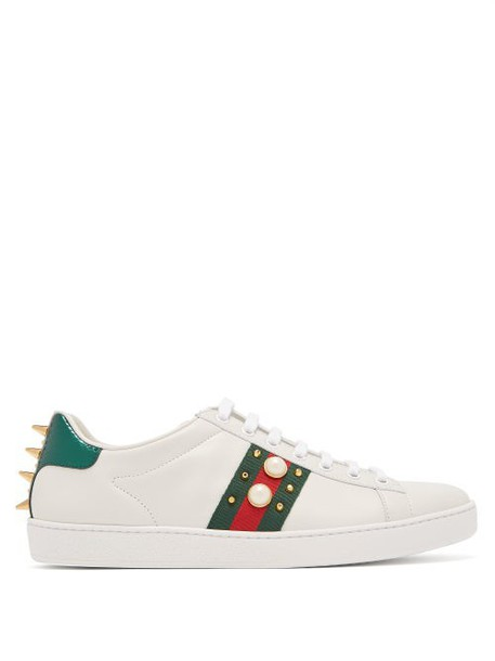 Gucci - New Ace Stud Embellished Leather Trainers - Womens - White