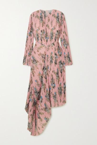 Preen by Thornton Bregazzi - Delaney Asymmetric Floral-print Plissé-georgette Dress - Pink