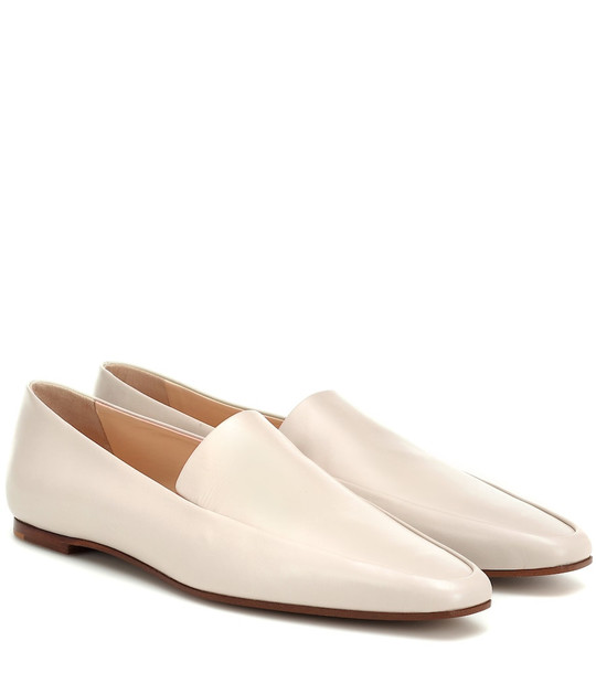 The Row Minimal leather loafers in white