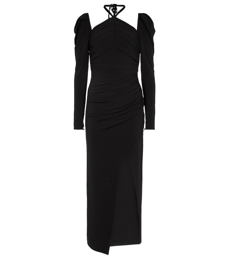 Self-Portrait Ruched stretch-jersey midi dress in black