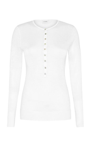 St. Agni Hiro Ribbed Cotton Button-Front T-Shirt in white