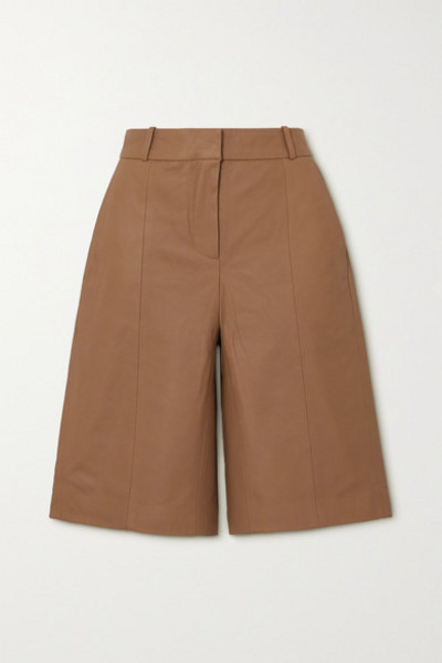 LOULOU STUDIO - Kiltan Leather Shorts in tan