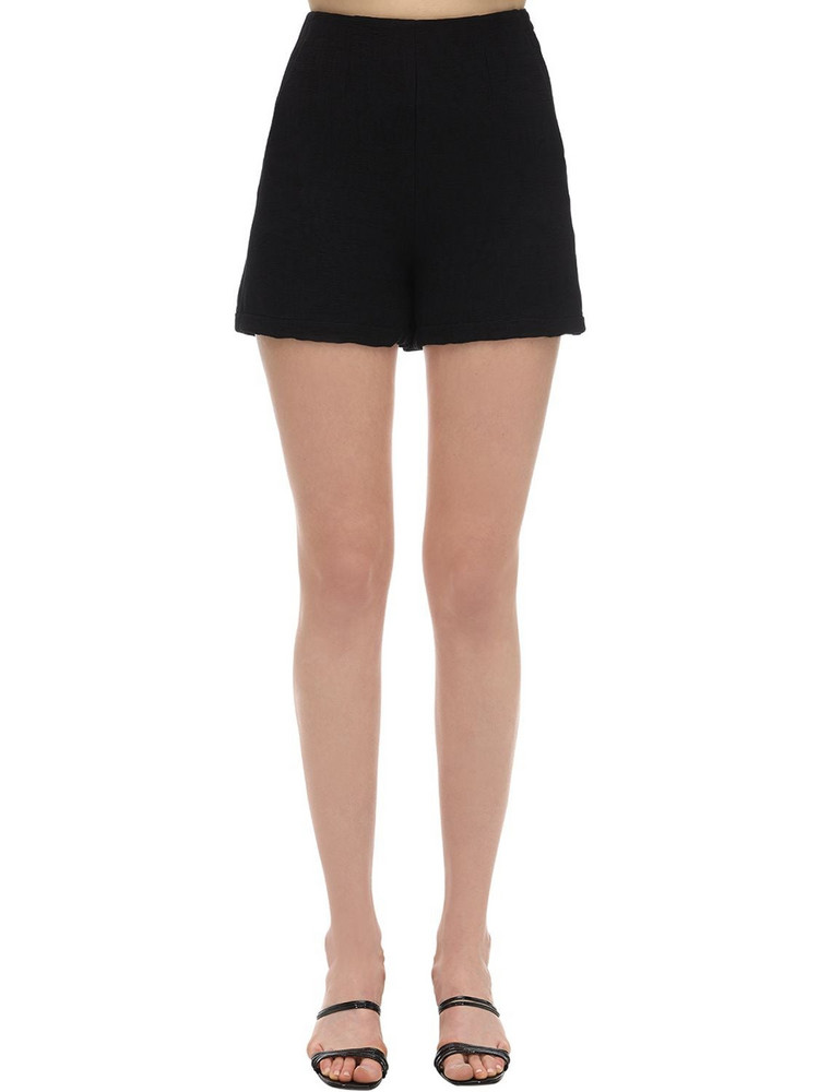 L'AUTRE CHOSE High Waist Crépon Shorts in black