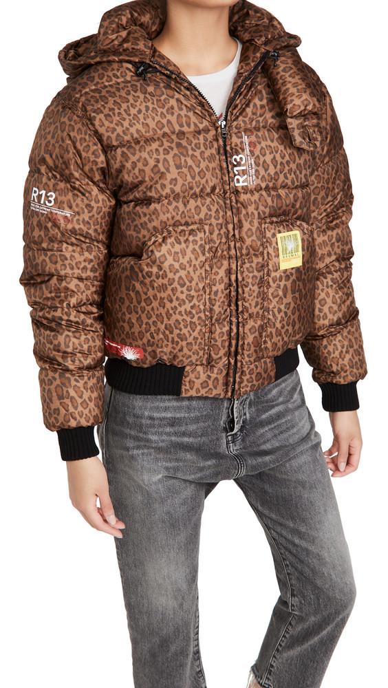 BRUMAL x R13 Down Hoodie in leopard