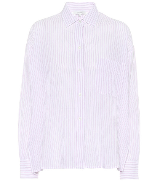 Vince Striped cotton shirt in pink