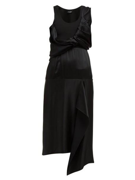 Atlein - Draped Bodice Satin Dress - Womens - Black