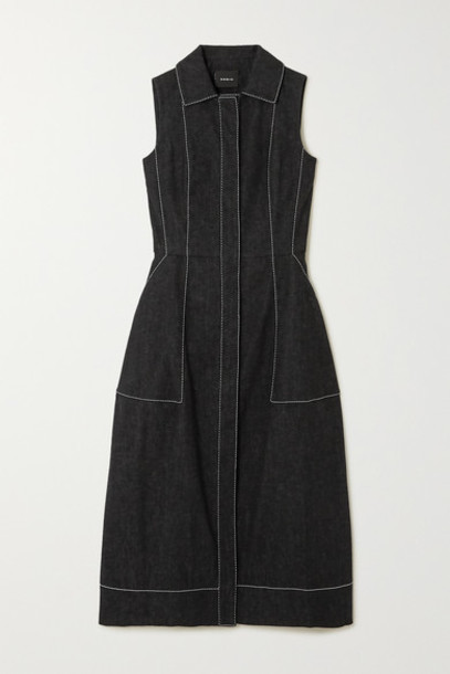 Akris - Topstitched Denim Midi Dress - Black