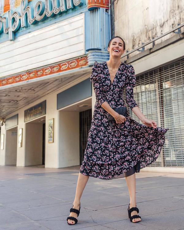 shoes black sandals high heel sandals midi dress floral dress long sleeve dress puffed sleeves black bag handbag