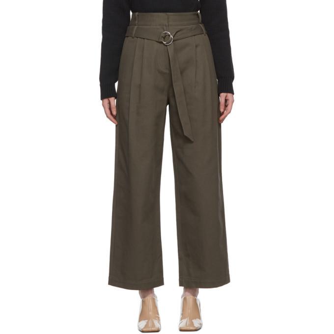 Tibi Khaki Gabardine Stella Trousers in grey / green