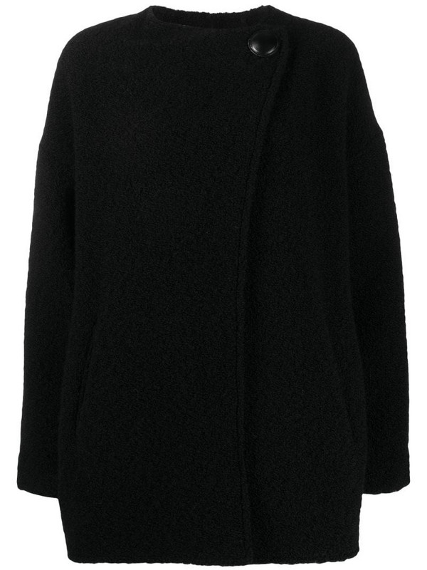 Isabel Marant asymmetric front pea coat in black