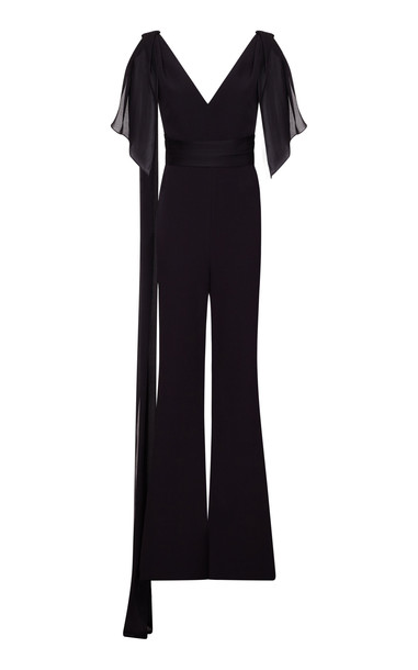 Safiyaa Cecil Crepe And Silk Wide-Leg Jumpsuit in black