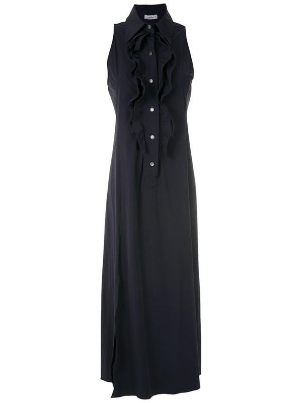 Amir Slama ruffle-trim maxi dress in blue