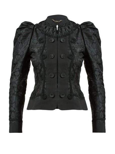 Erdem - Lucia Single Breasted Jacquard Jacket - Womens - Black