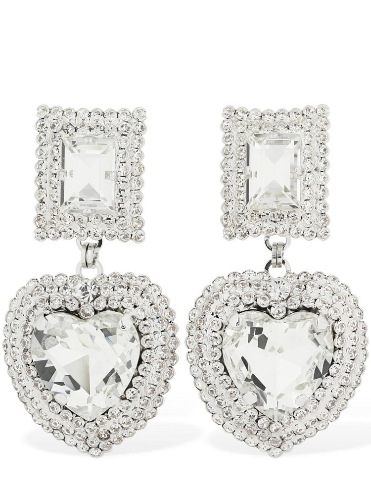 ALESSANDRA RICH Crystal Heart Clip-on Earrings in silver