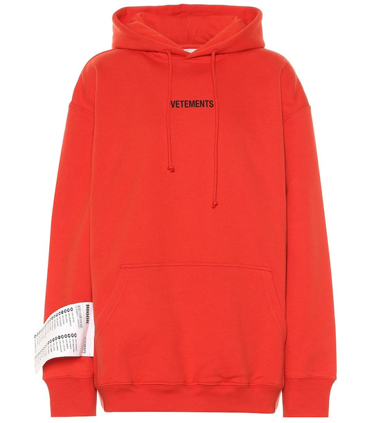 Vetements Logo cotton hoodie in red