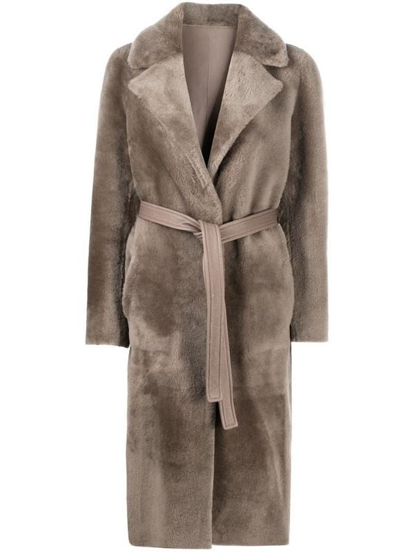 Blancha belted fur-trim coat in grey