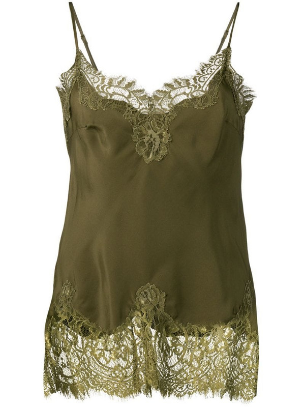 Gold Hawk lace panel top in green