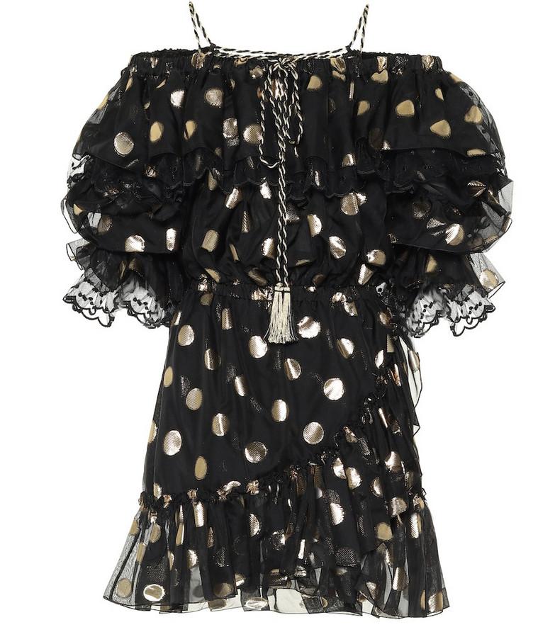 Dundas Polka-dot silk-chiffon dress in black