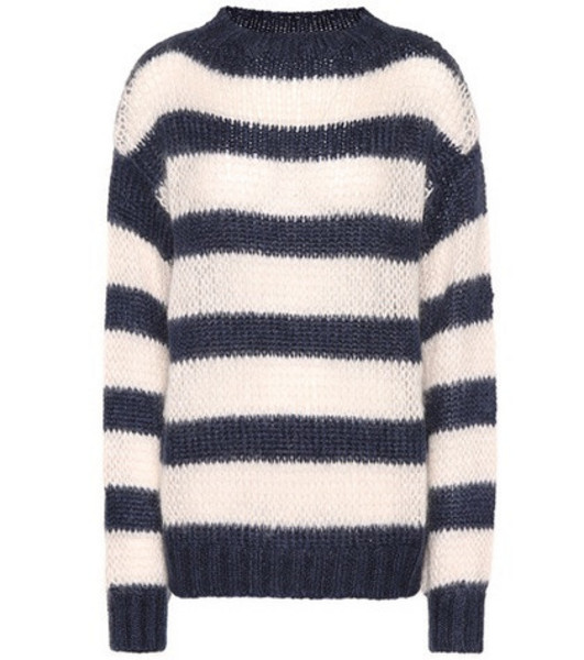 Prada Striped wool and mohair-blend sweater in blue