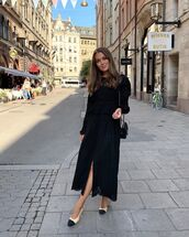 dress,black dress,long sleeve dress,slingbacks,black bag
