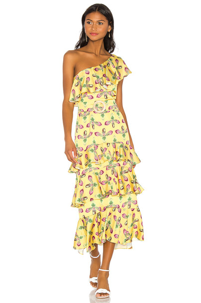 PatBo One Shoulder Tiered Dress in yellow
