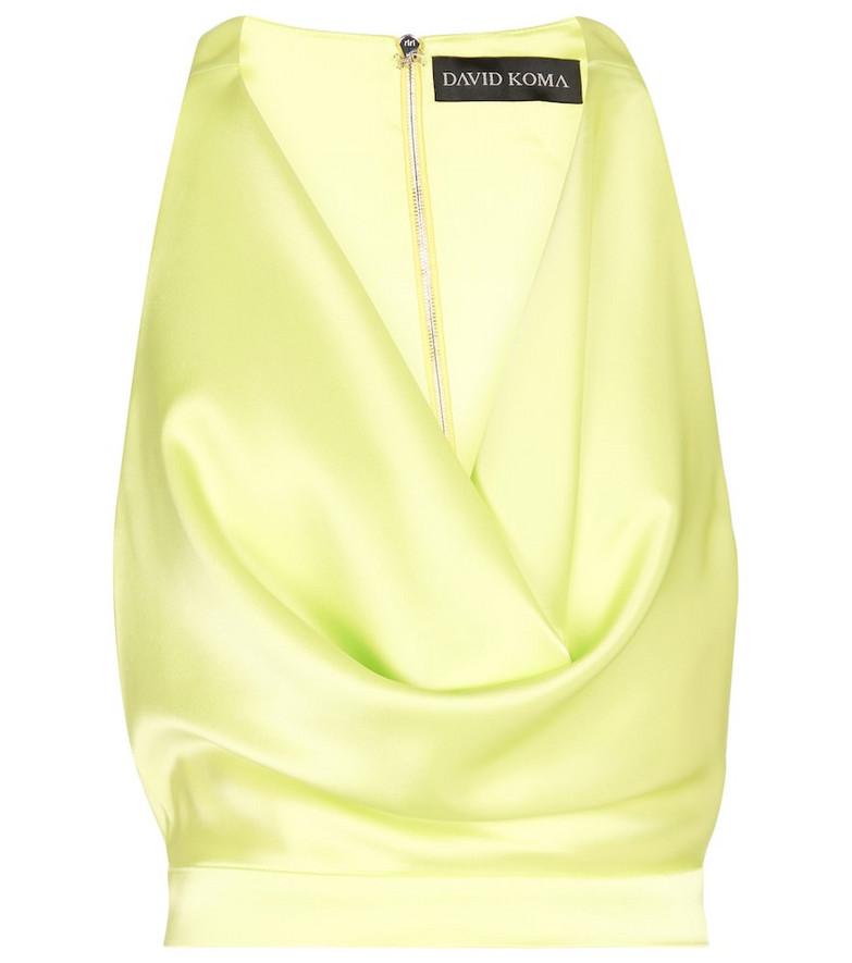 David Koma Satin top in yellow