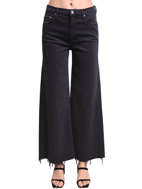 MOTHER Undercover Ankle Wide Leg Cotton Jeans in black
