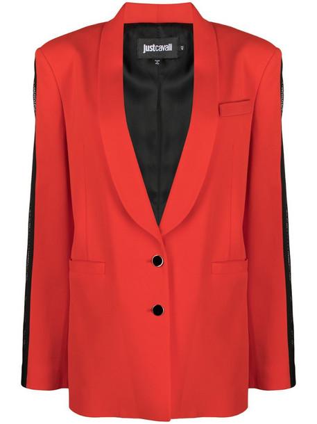 Just Cavalli single-breasted tuxedo blazer in red
