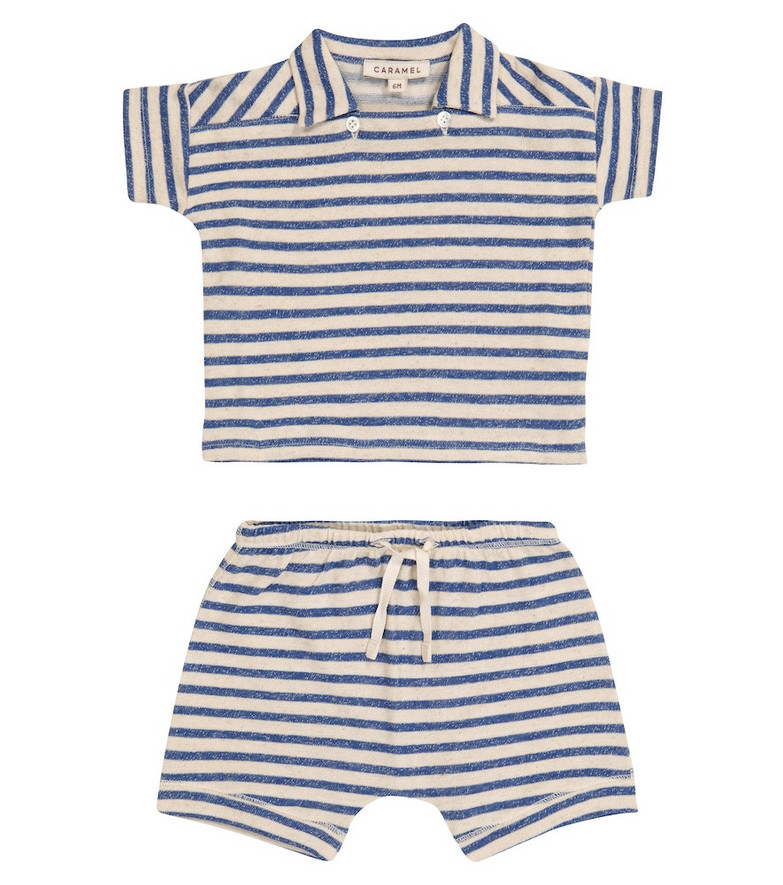 Caramel Baby Dugong striped T-shirt and shorts set in blue