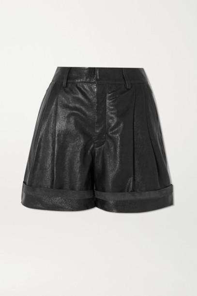 Chloé Chloé - Pleated Leather Shorts - Black