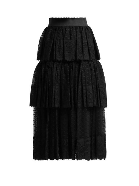 Dolce & Gabbana - Tiered Tulle And Lace Midi Skirt - Womens - Black