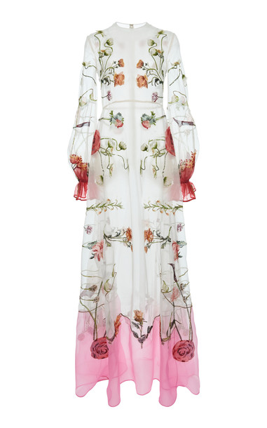 Valentino Floral-Print Silk Gown in white