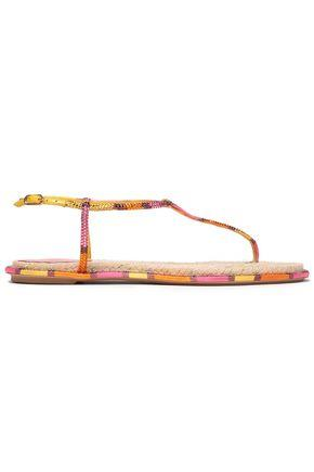 Rene' Caovilla Woman Crystal-embellished Striped Satin And Leather Sandals Multicolor Size 37