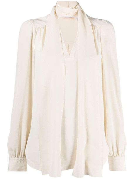 See by Chloé pussy-bow silk blouse in neutrals