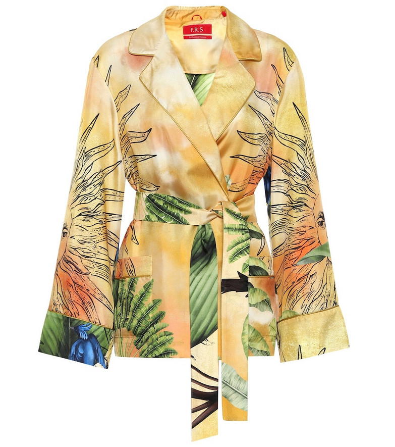 F.R.S For Restless Sleepers Giocasta printed silk pajama jacket in yellow