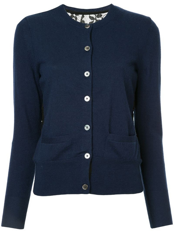Onefifteen lace panel buttoned cardigan in blue