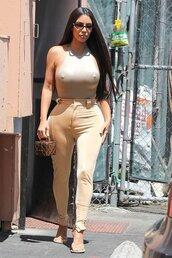 pants,nude,neutral,kim kardashian,kardashians,celebrity,top,bodysuit