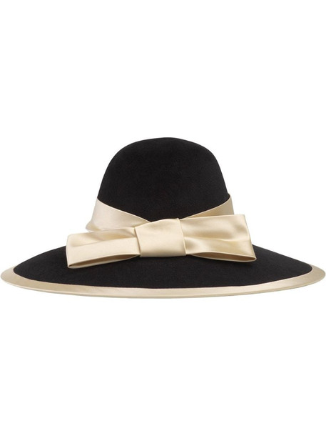 Gucci satin ribbon wide brim hat in black