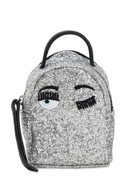 CHIARA FERRAGNI Extra Mini Glittered Backpack in silver