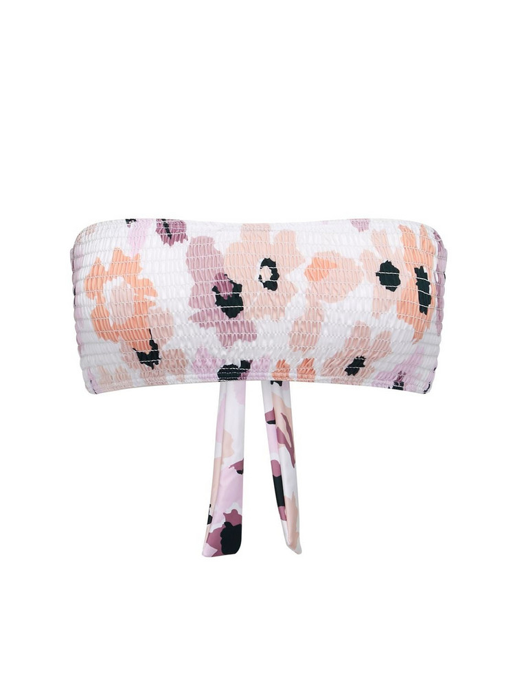 PEONY Soirée Smocked Bandeau Bikini Top in pink / white