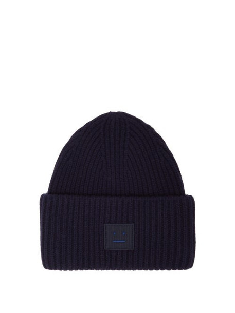 Acne Studios - Pansy Ribbed Knit Wool Beanie Hat - Womens - Navy