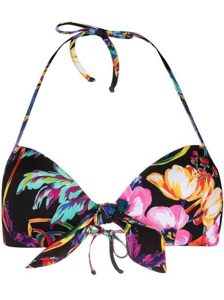 Moschino floral print sweetheart bikini top - Black