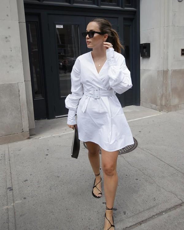 dress white dress mini dress black sandals long sleeve dress black bag