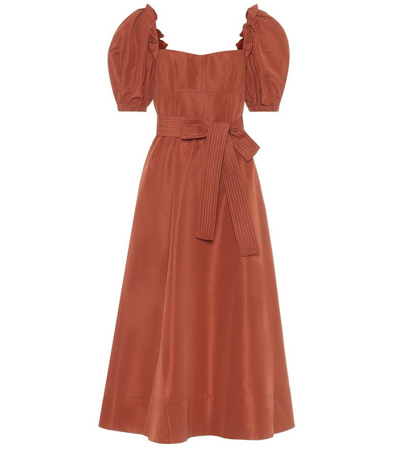 Self-Portrait Taffeta midi dress in brown