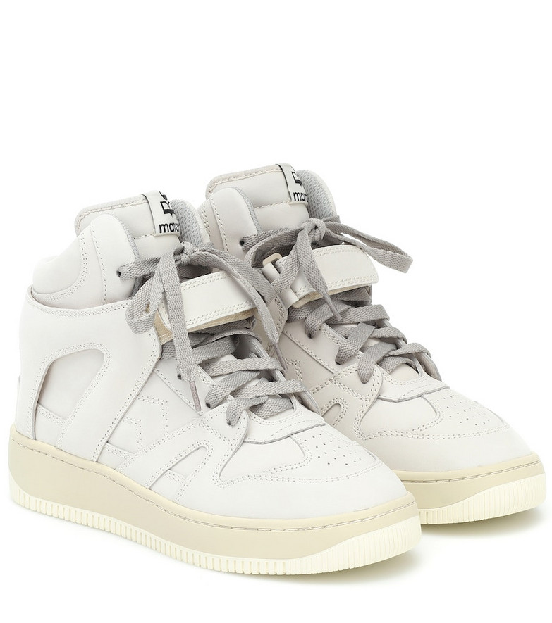 Isabel Marant Brooklee leather high-top sneakers in white