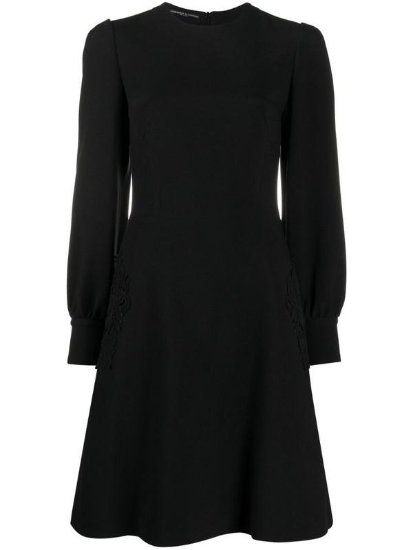 Ermanno Scervino lace-appliqué A-line mini dress in black