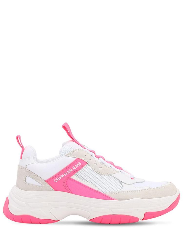 CALVIN KLEIN JEANS 40mm Maya Mesh & Suede Sneakers in fuchsia / white