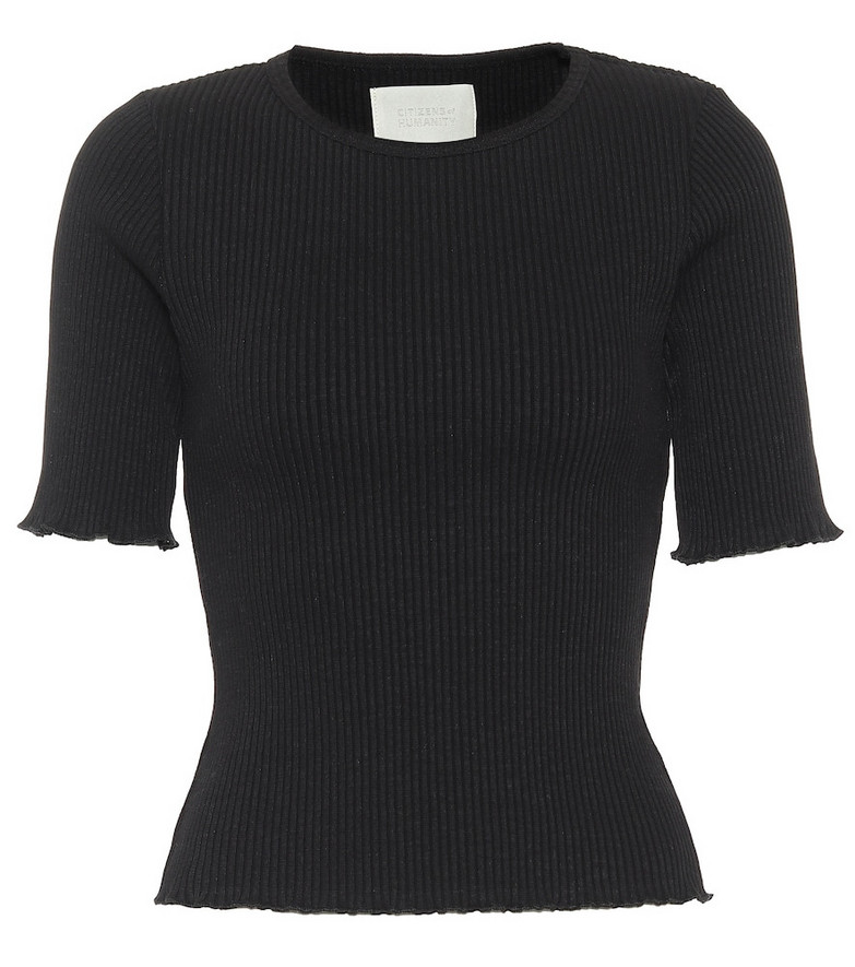 Citizens of Humanity Annie ribbed cotton T-shirt in black