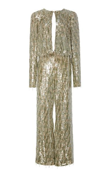 Alexis Trinity Sequin Jumpsuit in metallic