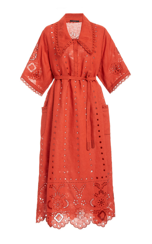 Vita Kin Charlotte Broderie Anglaise Linen Midi Dress in red